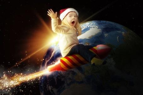 Фото Девочка летит на полосатой ракете вокруг Земли, by Reto Imhof