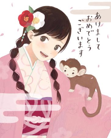 Фото Девушка с обезьянкой