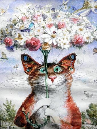 Фото Кошка с ушами бабочками держит в передних лапах букет цветов, над которым кружат бабочки, стрекозы, эльфы, художник и иллюстратор из Петербурга Владимир Румянцев
