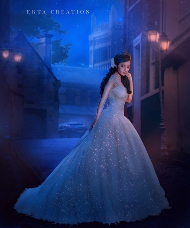 Фото Девушка в длинном платье стоит на дороге, by ektapinki