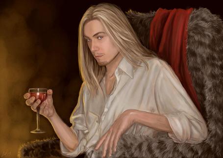Фото Красивый молодой мужчина с голубыми глазами держит бокал с напитком, by Cody