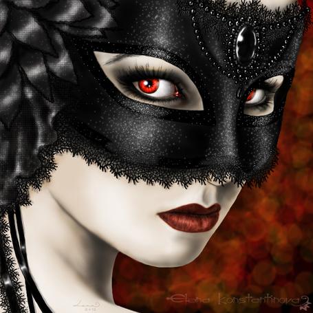 Фото Девушка в черной маске с красными глазами и яркой помадой на губах, by legadema666