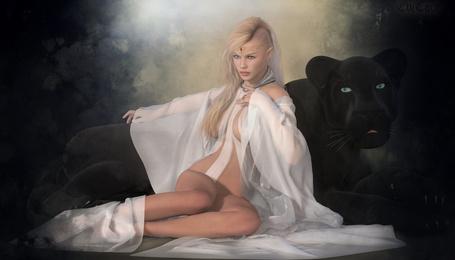 Фото Гламурная блондинка с черной пантерой, by Sedorrr