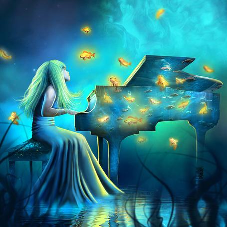Фото Девочка в подводном мире играет на рояле, вокруг которого плавают золотые рыбки, by little-spacey