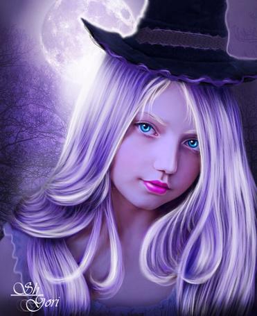 Фото Очаровательная девочка ведьма, на сиреневом фоне с голубыми глазами в шляпе, ShYori