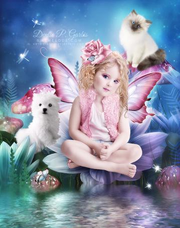 Фото Голубоглазая девочка с крылышками сидит на цветке с кошкой и собакой, by Denise P. Garbis