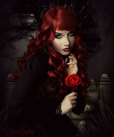 Фото Девушка с розой в руке, by MoonZaphire