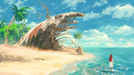 Фото Девочка стоит в море, на берегу которого лежит старый пиратский корабль