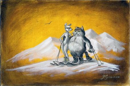 Фото Кот и кошка стоят на лыжах на вершине горы, художник Николай Кулыгин