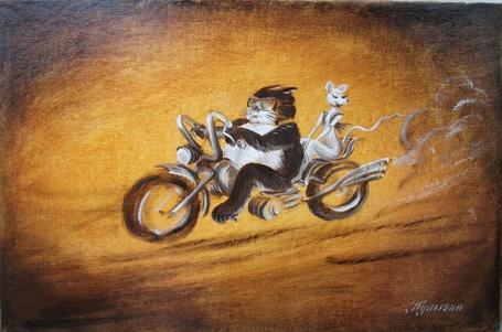 Фото Кот и кошка катаются на крутом байке, художник Николай Кулыгин
