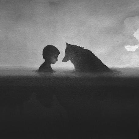 Фото Мальчик и волк стоят напротив друг друга в воде, by Elicia Edijanto