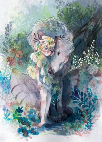 Фото Девочка обнимает большого волка, by sanoe