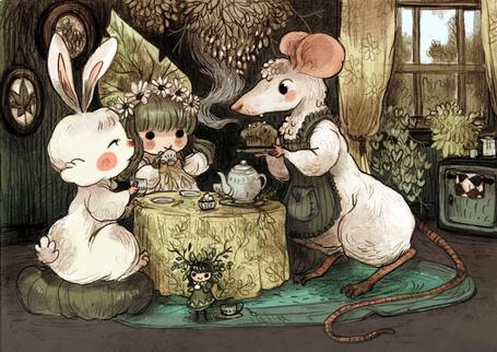 Фото Заяц, девочка и мышь, сидя за столом, пьют чай, by sanoe