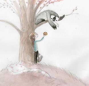 Фото Девочка протягивает печенье ленивцу, который лежит на дереве, by Chris Appelhans