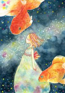Фото Девочка, вокруг которой плавают золотые рыбки, by k-chi