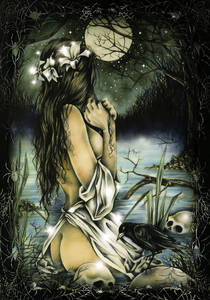 Фото Девушка с лилиями в волосах на фоне полной луны, ву Victoria Frances