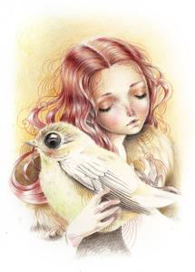 Фото Девушка держит в руках большую птицу, by Ania Tomicka