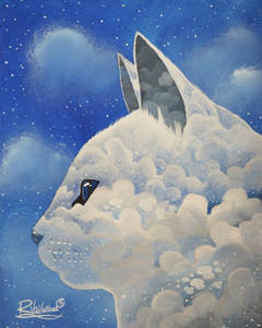 Фото Голова кота из облаков, на фоне неба, by Raphael Vavasseur