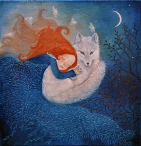 Фото Девочка спит на белой лисе, by Lucy Campbell