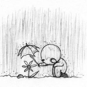 Фото Нарисованный человечек под дождем укрывает цветок зонтиком