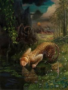 Фото Девушка леопард пьет воду с реки, за ней виден черный всадник, художник Kinuko Y. Craft