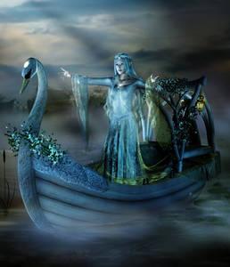 Фото Озерная фея с веночком на голове в лодочке украшенной цветами, by Seres Misticos