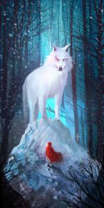 Фото Красная шапочка стоит перед волком