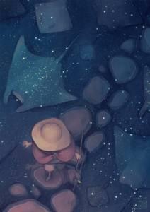 Фото Мальчик идет по дорожке из камней, выложенной в воде, в которой отражается звездное небо и плавают скаты, by Sangcoon