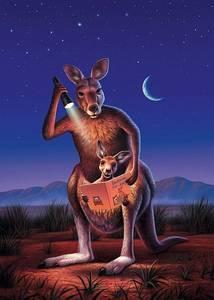 Фото Мама кенгуру показывает книжку своему кенгуренку, сидящему у нее в сумке, подсвечивая фонариком, иллюстратор Джерри Лофаро / Jerry LoFaro/