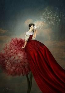 Фото Девушка в длинном красном платье сидит на огромном красном одуванчике и дует на маленький одуванчик, художник-дизайнер Катрин Вельц-Штайн / Catrin Welz-Stein/