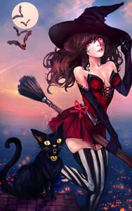 Фото Ведьмочка на метле парит возле черной кошки, сидящей на крыше