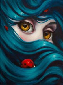 Фото Девушка с большими желтыми глазами, на волосах у которой божьи коровки, by Elizabeth Caffey