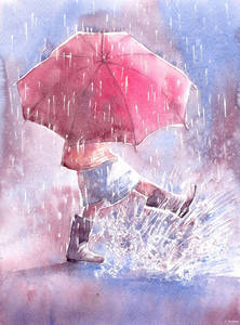 Фото Девочка с зонтом под дождем, by Kot-Filemon