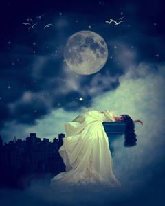 Фото Девушка в длинном платье со звездой в руке лежит на фоне ночного неба с полной Луной, by coyotepam