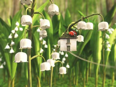 Фото Божья коровка на крыше своего домика на цветке, by curious3d