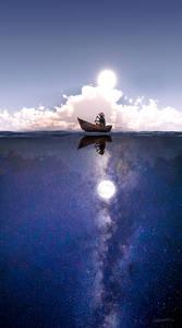 Фото Мужчина в лодке днем и ночью, by curious3d