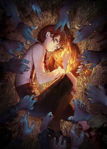 Фото Руки зомби тянутся к мальчику, обнимающему золотого гуся