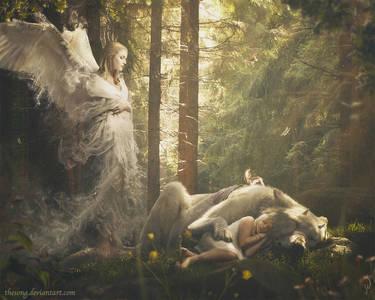 Фото Девочка спит на поляне, прижавшись к рогатому белому волку, за ними наблюдает призрачный ангел, by theSong