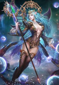 Фото Девушка-эльф с голубыми волосами держит волшебный посох, by ling lin