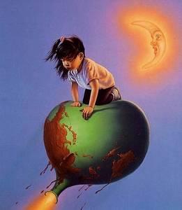 Фото Девочка восточной наружности летит на сдувающемся шарике, в виде земного шара, художник Джим Варрен