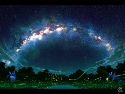 Фото Зеленые огоньки летают над дорогой, по обеим сторонам которой растут синие цветы, на фоне ночного неба и млечного пути