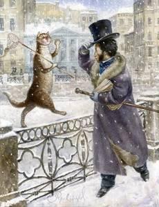 Фото А. С. Пушкин приветствует кота, шагающего по парапету набережной Невы, художник Владимир Румянцев
