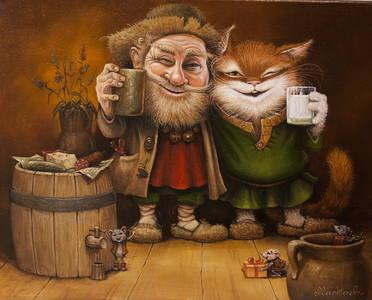 Фото Домовой распивает с котом, рядом веселятся мышата, by Маскаев
