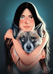 Фото Девушка обнимает собаку, у обоих глаза разного цвета
