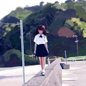 Фото Девушка идет вдоль дороги, by hujunisei