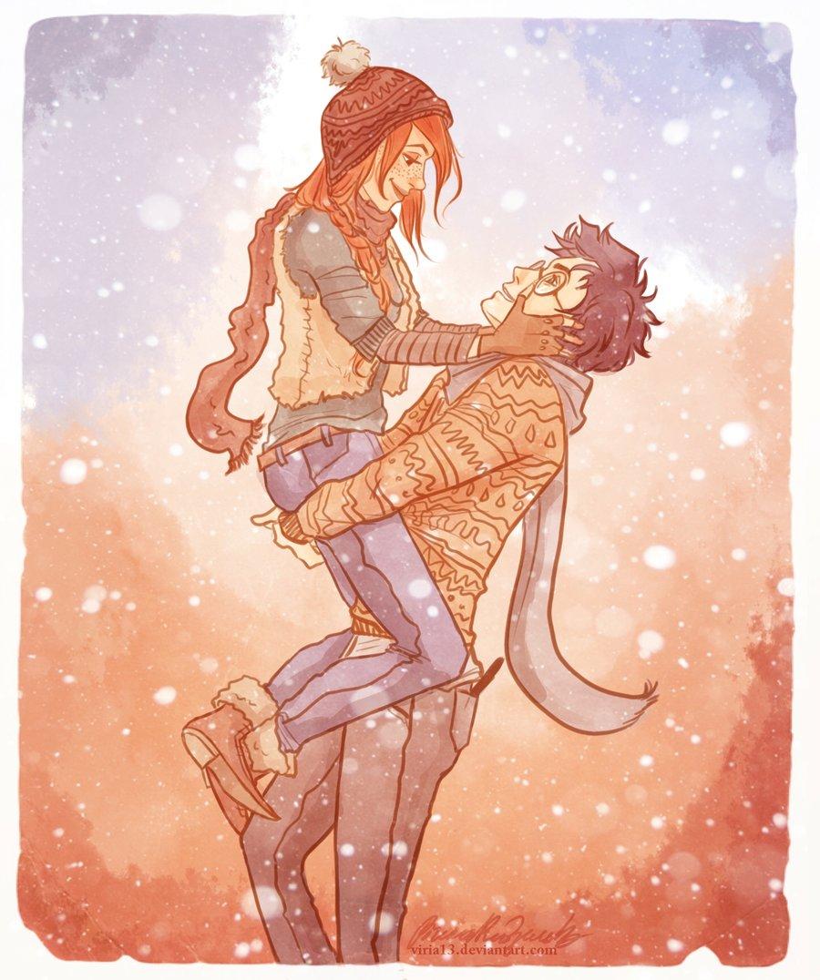 Фото Влюбленная пара под падающим снегом