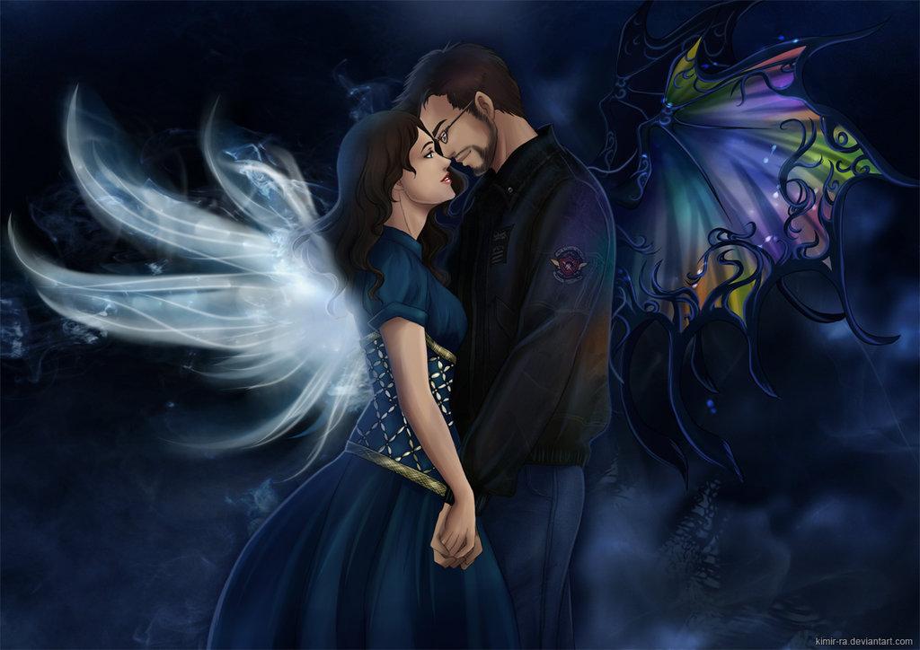 Фото Влюбленные парень и девушка с крыльями, by Kimir-Ra