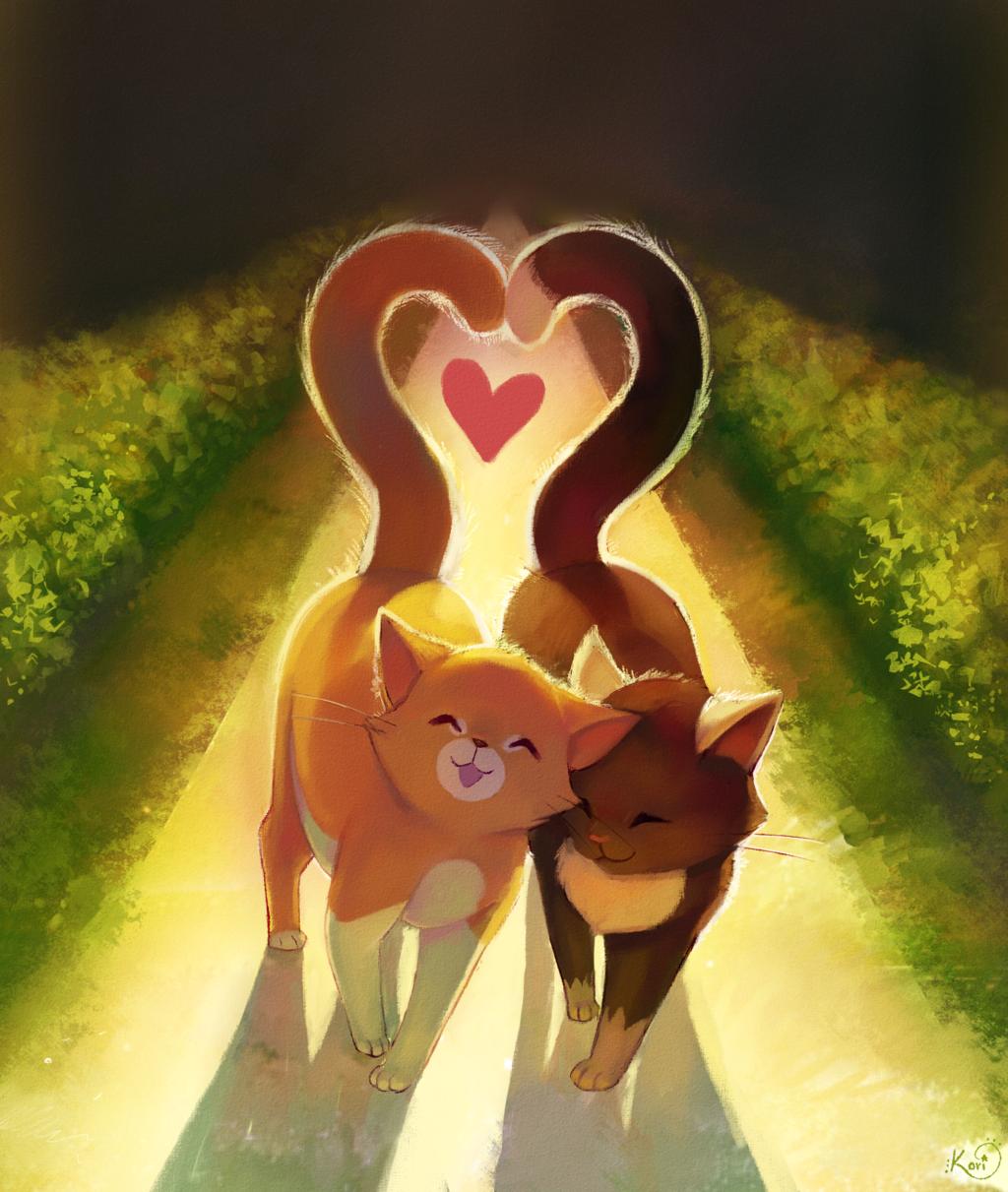 Любовь коты арт