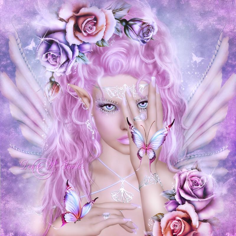 Фото Девочка-эльф с голубыми глазами с розовыми волосами среди цветов с бабочками на руках / by DeniseGarbis/