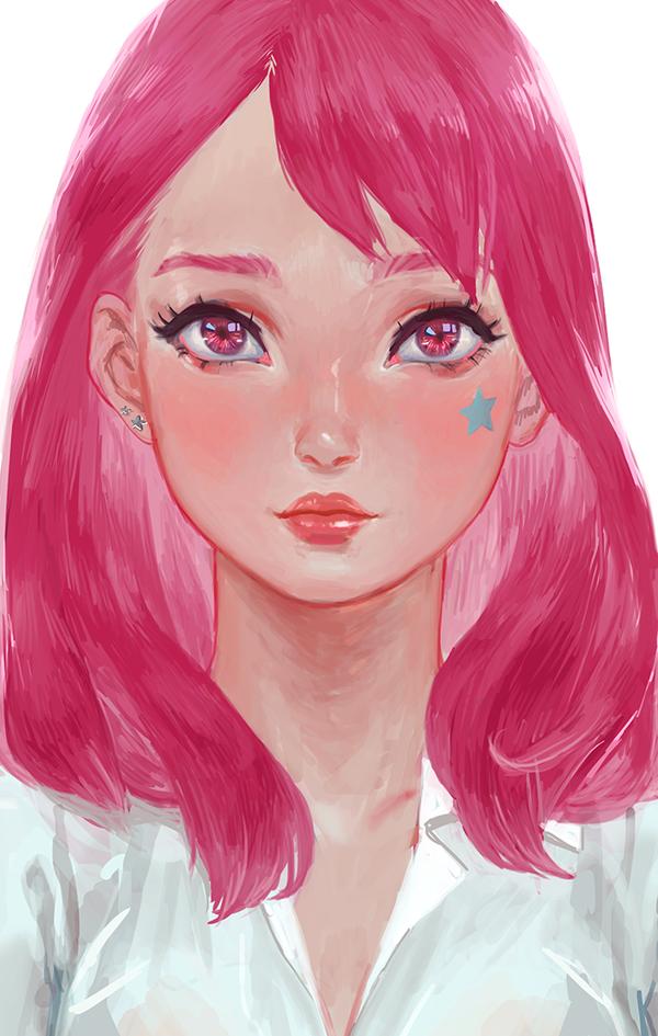 Картинки про девочку с розовыми волосами